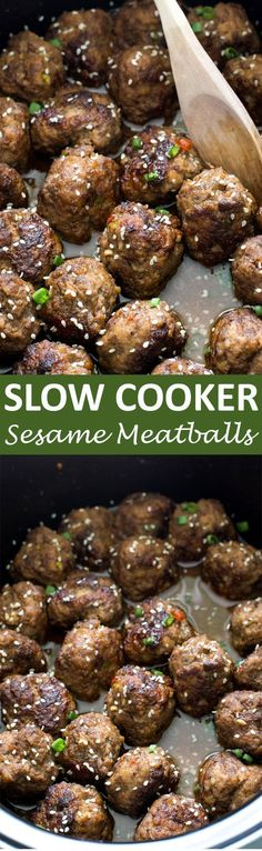 Super Tender Slow Cooker Asian Sesame Meatballs. Serve as an appetizer or add rice to make it a meal! | http://chefsavvy.com #recipe #sesame #meatballs #slow #cooker #crockpot
