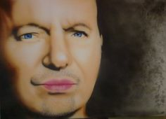 Vasco rossi airbrushed on a canvas year 2011