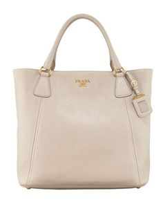 Prada Daino Snap-Top Tote Bag, Light Gray - Neiman Marcus