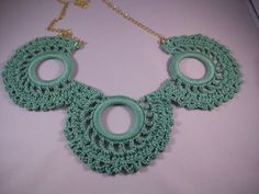 Crochet Doily Green Necklace by CalcedoniaDesign on Etsy, $25.00