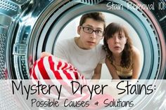 Have you ever noticed those maddening mystery dryer stains when you take clothes out of the dryer that look greasy or oily? Here's tips for what could be happening. {on Stain Removal 101}