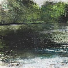 Kurt Jackson(British, Blandford, summer evening with ducks August 2008 Mixed media and collage on paper Watercolor Clouds, Watercolor Landscape, Abstract Landscape, Watercolor Tips, Kurt Jackson, Seascape Paintings, Landscape Paintings, Painting Trees, Water Art