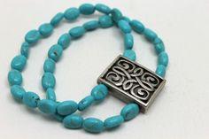 2 strands turquoise and celtic symbol bracelet