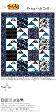This free downloadable pattern by Camelot Fabrics for a 62″ x 74″ quilt, is perfect for your sci-fi fan with Star Wars fabric or Star Trek fabric.  For the confident beginner/intermediate..  Click here for our newest space themed collections. https://www.lovequilting.com/shop/free-patterns/flying-high-quilt/ #starwars #quilt #fabric #freepattern