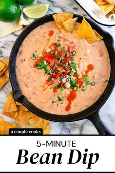 This intensely delicious bean dip recipe takes literally 5 minutes. You won't believe how easy it is to make this party favorite!   dip recipes   bean dip recipes   appetizers   healthy snacks   vegetarian recipes   gluten free recipes   mexican food recipes   easy meals   #bean #dip #beandip #beandiprecipe Vegetarian Mexican, Vegetarian Cookbook, Vegetarian Recipes, Healthy Recipes, Healthy Snacks, Yummy Recipes, Free Recipes, Mexican Dip Recipes, Bean Dip Recipes