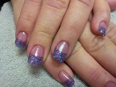 Pink/Purple glitter tips