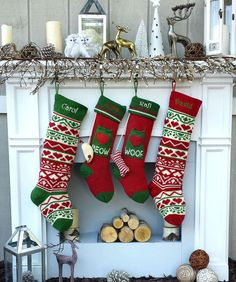 Knitted Christmas Stockings Red White Green Fun Hearts Family with Pets Cat Mouse Meow and Dog Bone Woof Knit Personalized Embroidered