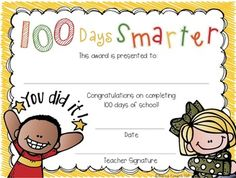 100 DAYS SMARTER AWARD FREEBIE {100TH DAY} - TeachersPayTeachers.com