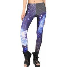 Galaxy Leggings for Women Blue Wave Nebula ($12) ❤ liked on Polyvore featuring pants, leggings, blue, nebula print leggings, space print leggings, galaxy leggings, white trousers and white leggings