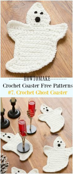 Crochet Ghost Coasters Free Pattern - Easy #Crochet Coaster Free Patterns