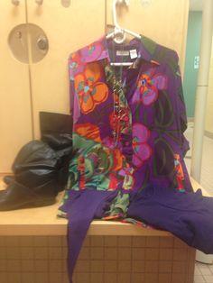 2016-02-03. Cotton print oversized shirt. Purple turtleneck. Purple tights. Black leather flat-heeled boots.