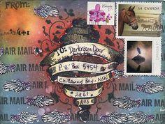 Mail Art by Karen Daley using Darkroom Door 'Mail Art' stamp set. http://www.darkroomdoor.com/rubber-stamp-sets/rubber-stamp-set-mail-art