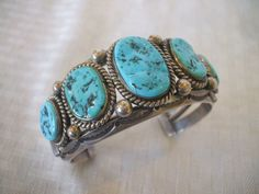 Signed Vintage Navajo HARRISON JIM Heavy Gauge Hand-Stamped Sterling Silver and TURQUOISE Cuff Bracelet, 103g