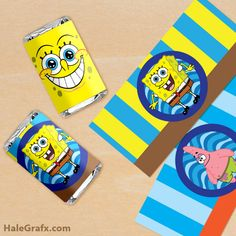 Click here to download FREE Printable Spongebob Squarepants Mini Candy Bar Wrappers!