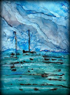 STORM AT SEA...ALCOHOL INK ..MIXED MEDIA..ALCOHOL INK SEMI-ABSTRACT ''STORM AT SEA'' This started out as an abstract and then began to do its own thing...so I let it...as is often the way with A. I.... Also used black acrylic...On Yupo paper