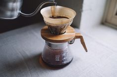 """""""By far my favorite dripper. I love the combination of wood and glass. Solid and did I mention beautiful."""" - Gina R.  Thanks so much for the kind review. #HarioV60 Olive Wood Base  kurasu.me/insta  #coffeeinlife"""