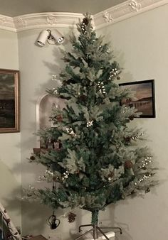 "Our ""Glitter Bomb"" winterfold tree in situ. Pre Decorated Christmas Tree, Diy Christmas Tree, Christmas Tree Decorations, Holiday Decor, Glitter Bomb Mail, Berries, Color, Tights, Home Decor"