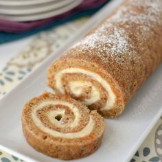 A carrot cake roll filled with cream cheese frosting - perfect for Easter!