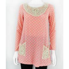 Polka Dot Top With Crochet Patchwork http://www.trendzystreet.com/clothing/tops-blouses/pink-polkadot-woolen-top-tzs5882