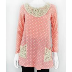 Polka Dot Top With Crochet Patchwork http://www.trendzystreet.com/clothing/tops-blouses/pink-polkadot-woolen-top-tzs5882