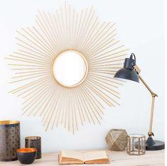 round gold-coloured metal mirror D 70 cm Soledad