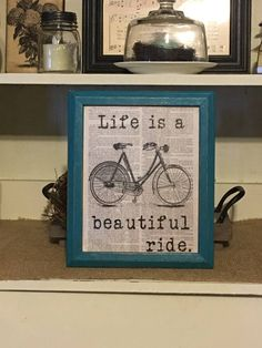 Life Is A Beautiful Ride Bicycle Print by DaisyPatchPrimitives