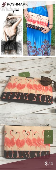 Kate Spade Flamingo Pouch Brand New with tags Kate Spade Flamingo Clutch. Coated canvas fully zipped. Measures 10 x 7 . Can be used for makeup, electronics, travel and as a clutch. Reasonable offers considered through offer button only kate spade Bags Clutches & Wristlets
