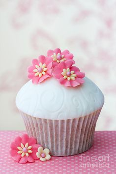 Flower Cupcake -- blue frosting with bright pink flowers... adorable