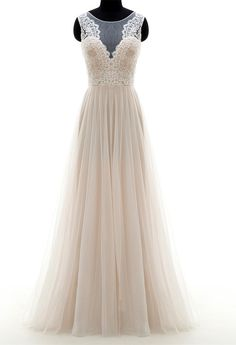 Glamorous A-line Wedding Dress,Scoop Sweep Train Bridal Dresses,Champagne Tulle Zipper-up Appliques Wedding Dress