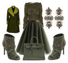 """Green!!!"" by solelovee ❤ liked on Polyvore featuring Burberry, Chicwish, Schutz, Hermès, Anton Heunis and Jean-Paul Gaultier"