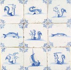 Delft tiles with Sea Creatures and Ossekop corner decoration.