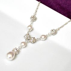 Bridal Necklace, Pearl Bridal Necklace, Swarovski Bridal Jewelry, Art Deco Y-Necklace. $67.00, via Etsy.