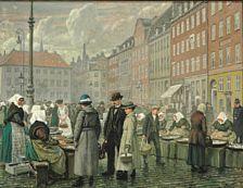 Ældre malerier: Paul Fischer: Skovserkoner sælger fisk på Gl. Strand i København. Sign. Paul Fischer. Olie på lærred. 58 x 74.