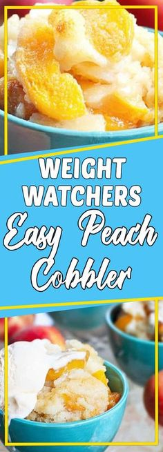 Weight Watchers Easy Peach Cobbler #dessert #dessertrecipes #recipeideas #homemade #desserttable #appetizer
