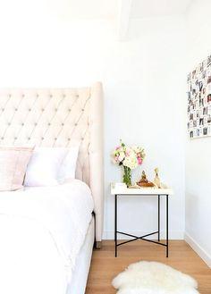 Cream Linen Tufted Wingback Headboard, Transitional, Bedroom