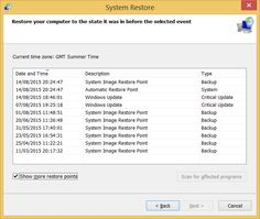 Screenshot of System Restore showing Restore Points on a Windows 8.1 Home Premium Laptop. Taken on 14 August 2015.