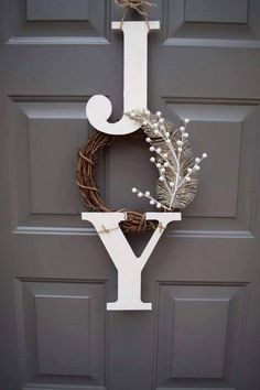 christmas decor joy sign christmas sign christmas door hanger by TheClassyGoose Christmas Door Decorations, Diy Christmas Ornaments, Diy Christmas Gifts, Christmas Ideas, Christmas Pictures, Homemade Christmas, Christmas Inspiration, Christmas Wreaths For Front Door, Christmas Centerpieces
