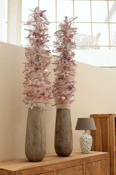 xmas trees in pink & white - Weihnachtsbäumchen in pink & weiß