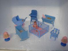 Vintage Renwal Doll Dollhouse Toy Baby Furniture w Baby Figure | eBay
