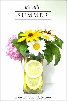 decor, centerpiece summer, flower arrang, lemons, flower centerpieces