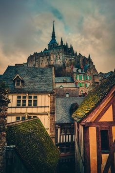 Old French Village at a medevial cathedral church , a monastery of  normandy built by roman catholics in the town of  mont saint michel lower normandy