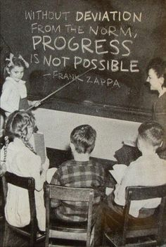 Without deviation from the norm progress is not possible. -Frank Zappa