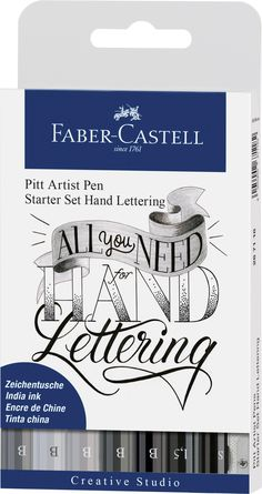 Learn the basics of lettering and modern calligraphy art with this starter set by Faber-Castell! Helpful instructions and everything you need to sketch, outline, illustrate and letter your own designs is included! Hand Lettering 101, Lettering Guide, Hand Lettering For Beginners, Creative Lettering, Pitt Artist Pens, Artist Brush, Creative Studio, Faber Castell Pitt, Tinta China