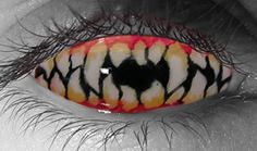 Disturb everyone who comes in sight of you with these sharp teeth contact lenses. Offered in regular or prescription contact lens powers, these creepy lenses will transform your eyeball into a gruesome looking open mouth with jagged teeth. Novelty Contact Lenses, Prescription Contact Lenses, Cool Contacts, Colored Contacts, Eye Contacts, Halloween Contacts, Halloween Makeup, Zombie Makeup, Scary Makeup