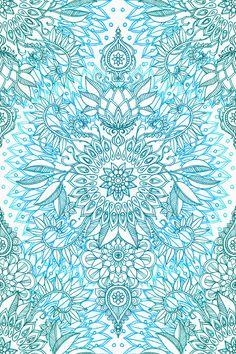 Turkuaz Mavi, Teal & White Protea Doodle Pattern Sanatsal Reprodüksiyon