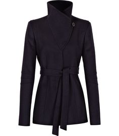 Reiss belted wrap collar jacket. Casper in stylish and versatile navy is a wool-rich hip-length jacket. This pulled-in style features a stylish tie belt, dramatic wrap collar with buttons, an asymmetric concealed button fastening and triple seam detail to the crook of the arm.