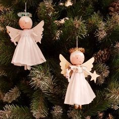 Christmas tree angel by marydollpins clothes pin dolls Christmas Tree Angel, Christmas Crafts, Christmas Ornaments, Angel Ornaments, Crochet Christmas, Glass Ornaments, Handmade Christmas, Christmas Ideas, Tree Decorations