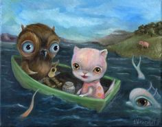 LOVE this artists works! auction ends March 27th! check it out!!  have a collection of her works! :D   Nfac Big Eye Owl Pussycat Surreal Original Cat Oil Nautical Kids Art Knowles | eBay