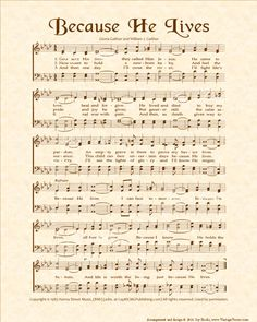 Gospel Song Lyrics, Christian Song Lyrics, Christian Music, Old Sheet Music, Vintage Sheet Music, Framed Sheet Music, Praise Songs, Worship Songs, He Lives Lyrics