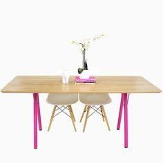 Custom Made Mid Century Modern White Oak Table With Steel Powder Coated Legs, The Lola